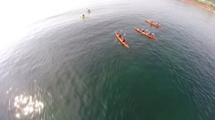 colourful kayaks on St Lawrence River, Canada - stock footage