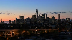 Evening panoramic view of the Manhattan skyscrapers. Stock Footage