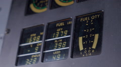 Fuel Gauge in Jet Airplane Cockpit, Close Up - stock footage