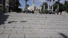 Arrive at the top of the ancient port city of Jaffa Stock Footage