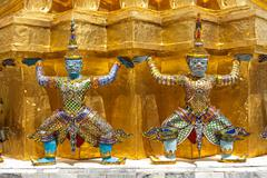 Giant Buddha Statues in Grand Palace, Bangkok Stock Photos