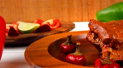 Stew red beef meat served on wooden tableware Stock Footage