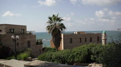 Mosque in Jaffa with Mediterranean sea breeze in the background Stock Footage