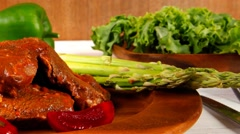 stew red beef meat served on wooden tableware - stock footage