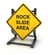 Road sign - rock slide area - stock illustration