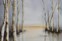 Trees at the side of a lake - stock illustration
