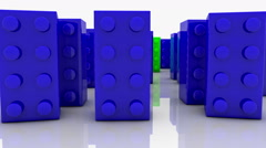 Toy blocks in blue and green Stock Footage