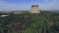 Cooling towers unfinished srade of the Chernobyl nuclear power plant (Aerial) Stock Footage
