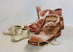 Two pairs of shoes - stock illustration