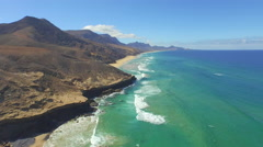 AERIAL: Beautiful famous Cofete beach in Canary Islands Stock Footage