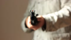 soldier keeping the target at gunpoint - stock footage