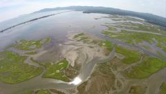 Aerial view over Barachois, lagoon, near Perce in Gaspe Peninsula Stock Footage