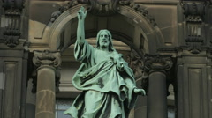 Statue of Jesus Christ above the entrance of Berliner Dom, Berlin Stock Footage