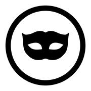 Privacy Mask flat black color rounded raster icon - stock illustration