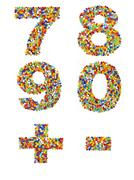 Numbers 7 through 0 and punctuation marks made from colorful glass beads on a - stock photo