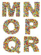 Letters of the alphabet M through R made from colorful glass beads on a white - stock photo