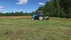 Stock Video Footage of tractor hay field aero