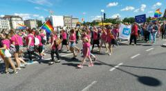 Pink clothes at Gay pride parade in Stockholm Stock Footage