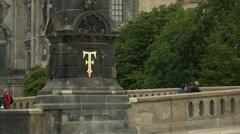 Inscription of a symbol on Bodestrasse bridge pillar, Berlin Stock Footage