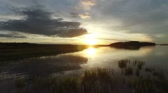 russian river aero sunset - stock footage