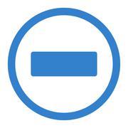 Minus flat cobalt color rounded raster icon - stock illustration
