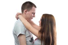Image of two happy hugging teenagers - stock photo