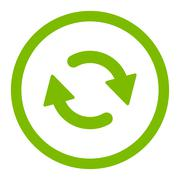 Refresh flat eco green color rounded raster icon - stock illustration