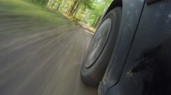 The car goes through the forest. Forest road in the national park. Time lapse Stock Footage