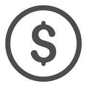 Dollar flat gray color rounded raster icon - stock illustration