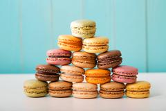 Pyramid of multi-colored macarons - stock photo