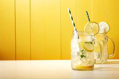 Homemade lemonade in mason jars Stock Photos