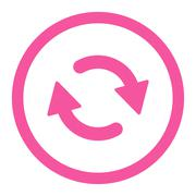 Refresh flat pink color rounded raster icon - stock illustration