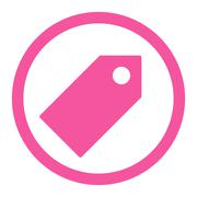 Tag flat pink color rounded raster icon - stock illustration
