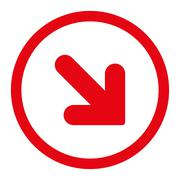 Arrow Down Right flat red color rounded raster icon - stock illustration