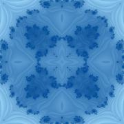Blue ornamental centralized fractal tileable pattern with decorative spirals. Stock Illustration