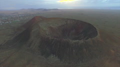 AERIAL: Flying above big extinct volcano crater in Canary Islands Stock Footage