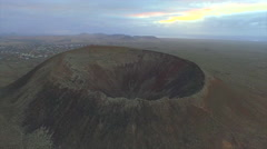 AERIAL: Flying around huge volcano crater Stock Footage