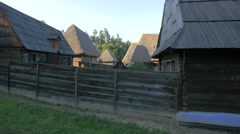 Wooden fence and houses, Astra National Museum Complex, Sibiu Stock Footage
