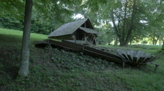 Watermill made of wood, Astra National Museum Complex, Sibiu Stock Footage