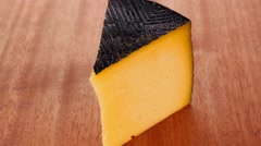 Chunk of aged french gruyere Stock Footage