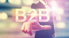 Businessman pointing at B2B Stock Illustration
