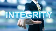 Businessman pointing at INTEGRITY Stock Illustration