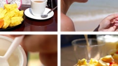 Composition of Healthy Food. Fresh Ftuits and Yogurt for Breakfast. Diet Concept Stock Footage