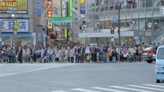 Time lapse 8x- Pedestrian crossing in Shibuya, Tokyo - stock footage