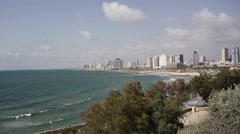 Muezzin mosque call for prayer in Jaffa overlooking Tel-Aviv coast Stock Footage