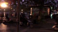 Bikes and people in a evening streetview of hanoi, Vietnam Stock Footage