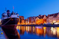 Gdansk. Central embankment at night. Stock Photos