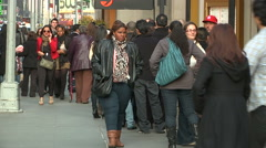 "Line forms for ""The Lion King"" at the Minskoff Theatre [Broadway39] Stock Footage"