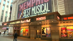 Shubert Theatre's Facade, showing Memphis [Broadway46] - stock footage