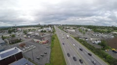 Aerial of Ottawa Canada's Queensway Highway on a Cloudy Summer Day Stock Footage